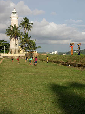 Boys Playing Cricket, Galle Lighthouse Art Print
