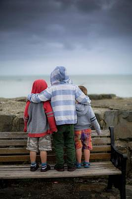 Boys Standing On Bench Art Print by Samuel Ashfield