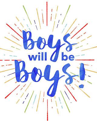 Nursery Painting - Boys Will Be Boys by Amy Cummings