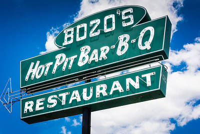 Barbecue Photograph - Bozo's Hot Pit Bar-b-q Sign by Jon Woodhams