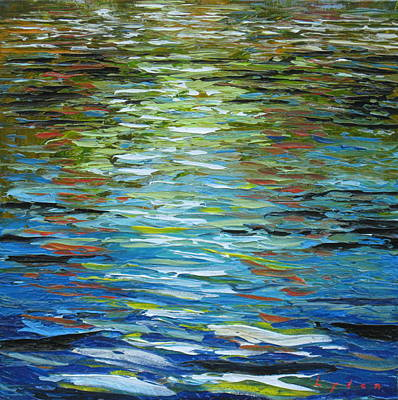 Oil Slick Painting - B.p. Oil In The Water by Les Lyden