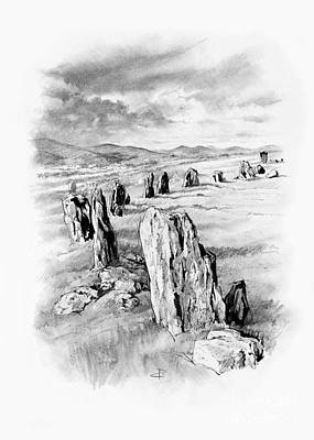 Drawing - Braaid Stone Circle by Paul Davenport