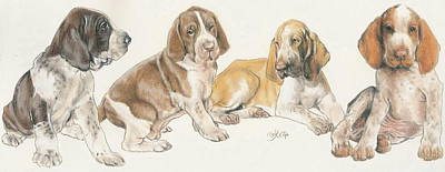 Sporting Mixed Media - Bracco Italiano Puppies by Barbara Keith