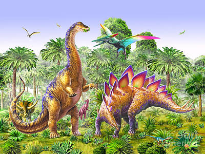 Brachiosaur And Stegasaur Art Print by Adrian Chesterman