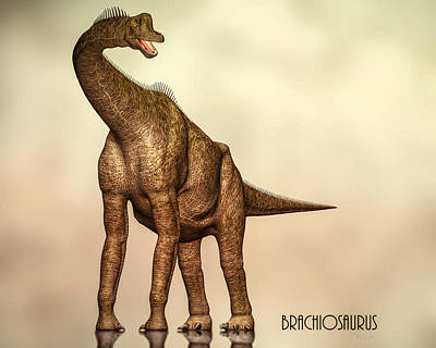 Triassic Digital Art - Brachiosaurus Dinosaur by Bob Orsillo