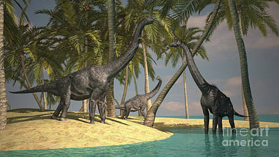 Brachiosaurus Digital Art - Brachiosaurus Dinosaurs Grazing by Kostyantyn Ivanyshen
