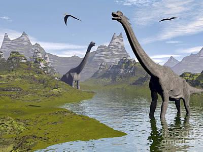 Triassic Digital Art - Brachiosaurus Dinosaurs Walking by Elena Duvernay