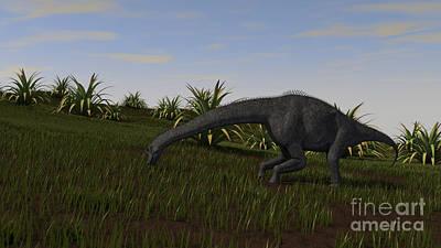 Color Bending Digital Art - Brachiosaurus Grazing In A Grassy Field by Kostyantyn Ivanyshen