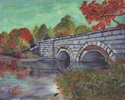 Sudbury River Painting - Brackett Reservoir Railroad Bridge by Cliff Wilson