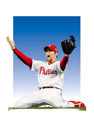 Brad Lidge Champion Art Print by Scott Weigner