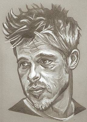 Year Of The Monkey Drawing - Brad Pitt Drawing by Robert Crandall