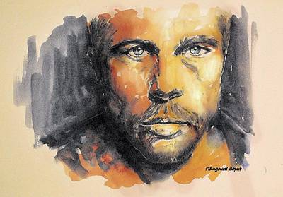 Felt Painting - Brad Pitt by Francoise Dugourd-Caput