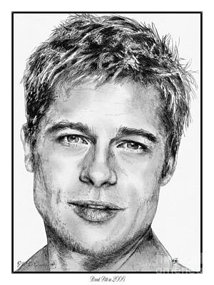 Greyscale Drawing - Brad Pitt In 2006 by J McCombie