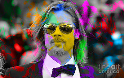 Color Image Mixed Media - Brad Pitt by Marvin Blaine