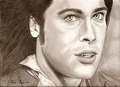 Drawing - Brad Pitt Vampire by Michael Mestas
