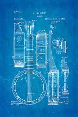 Banjo Photograph - Bradbury Banjo Patent Art 1882 Blueprint by Ian Monk