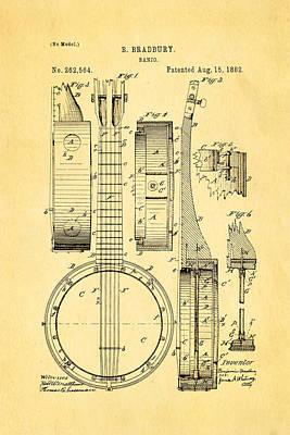 Stringed Instrument Photograph - Bradbury Banjo Patent Art 1882 by Ian Monk