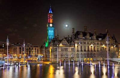 Bradford City Hall In The Evening Art Print