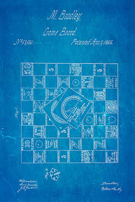 Photograph - Bradley Game Of Life Patent 1866 Blueprint by Ian Monk