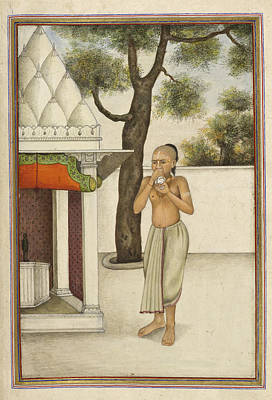 Brahmin Blowing Conch Shell Art Print by British Library