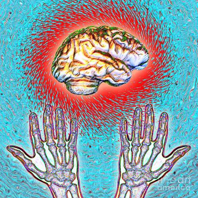 Mental Process Photograph - Brain And Hands Energy by Dennis D. Potokar