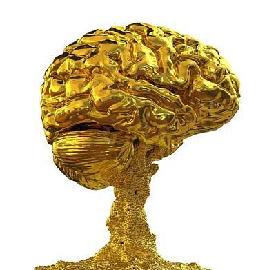 Brain Made Of Gold Art Print