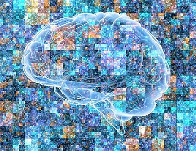 Brain Over Pixelated Background Art Print