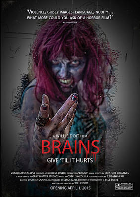 Digital Art - Brains Faux Movie Poster by John Haldane