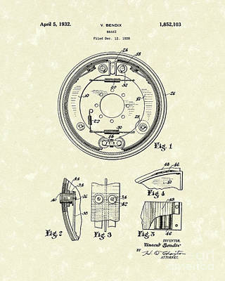 Drawing - Brake 1932 Patent Art by Prior Art Design