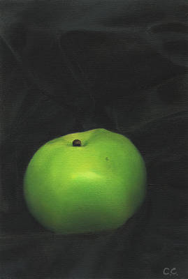 Bramley Apple On Black Satin Art Print by Catherine Considine