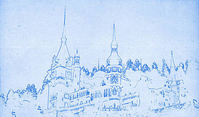 Romania Mixed Media - Bran Castle In Transylvania In Romania - Blueprint Drawing by MotionAge Designs