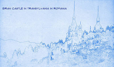 Romania Mixed Media - Bran Castle In Transylvania In Romania - Blueprint by MotionAge Designs