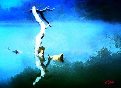 Hera Painting - Branch Drifting On Water by Colette V Hera  Guggenheim