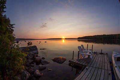 Photograph - Branch Lake Sunrise In Maine by Kirkodd Photography Of New England
