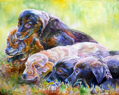 Mixed Labrador Retriever Painting - Brand New Day by Janine Hoefler