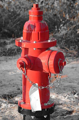 Photograph - Brand New Red Hydrant On Bw by Jeff at JSJ Photography