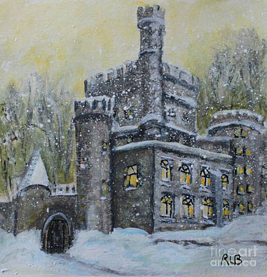 Snowy Day Painting - Brandeis University Castle by Rita Brown