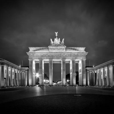 Illuminating Digital Art - Brandenburg Gate Berlin Black And White by Melanie Viola