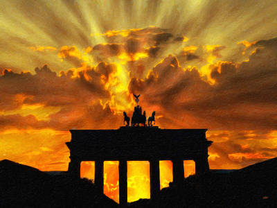 Dramatic Sky Sun Rays Painting - Brandenburg Gate Ger2019 by Dean Wittle