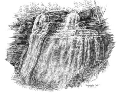 Drawing - Brandywine Falls - Cuyahoga Valley National Park by Kelli Swan