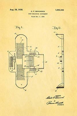 1928 Photograph - Brannock Shoe Fitting Patent Art 1928 by Ian Monk
