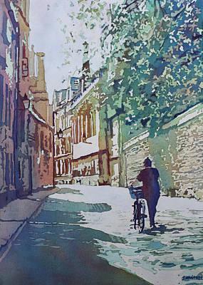 Bicycling Painting - Brasenose Lane by Jenny Armitage