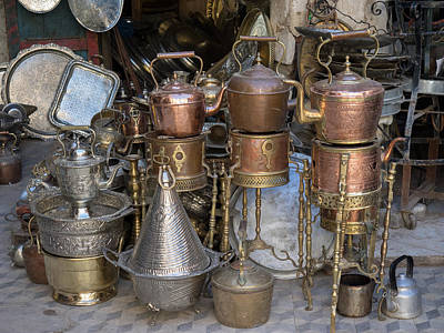 Antique Shop Photograph - Brass And Copper Items For Sale by Panoramic Images