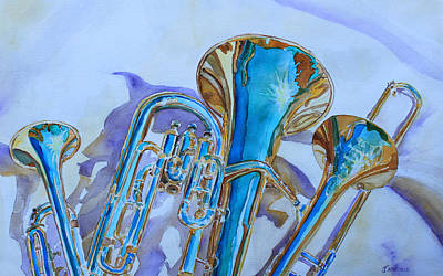 Trombone Painting - Brass Candy Trio by Jenny Armitage