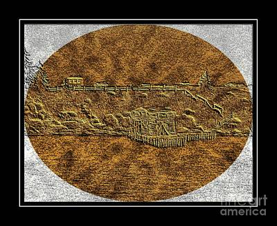 Brass Etching Digital Art - Brass Etching - Oval - Fishing Stage by Barbara Griffin