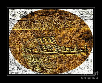 Brass Etching Digital Art - Brass Etching - Oval - Moving House By Water by Barbara Griffin