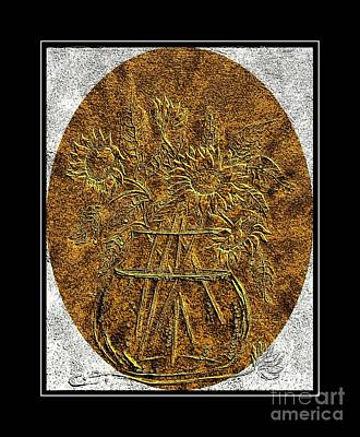 Brass Etching Digital Art - Brass Etching - Oval - Sunflowers by Barbara Griffin