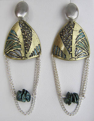 Brass Etching Green Teal Earrings Original