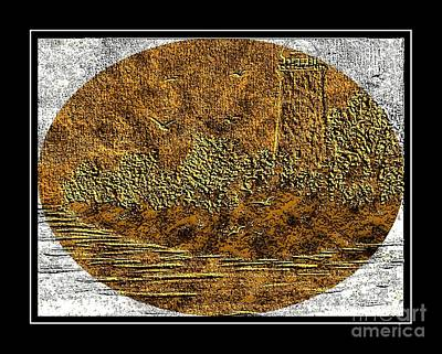 Brass Etching Digital Art - Brass Etching - Oval - Lighthouse by Barbara Griffin