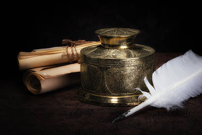 Pen Photograph - Brass Inkwell Still Life by Tom Mc Nemar